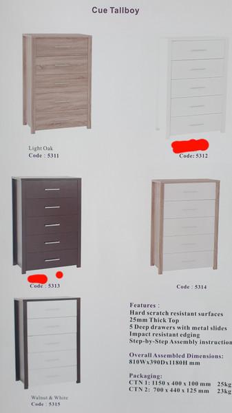 Cue Tallboy white walnut oak chest of drawers