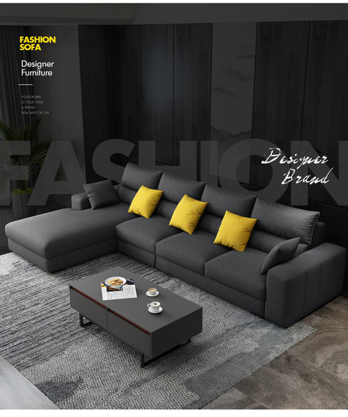 Grey Linen fabric corner lounge +4 ottoman