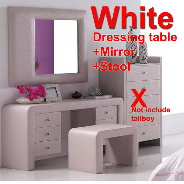 1.4M White Leather look dressing table with mirror and stool