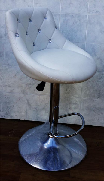 """Diamond"" white leather look gas lift stool"