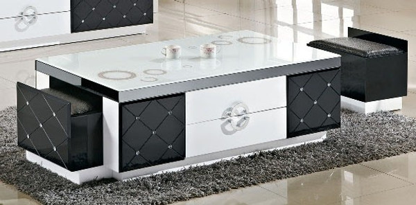 White mix black coffee table