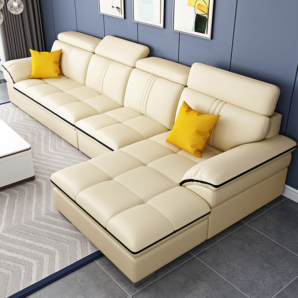 Leather cream couch with chaise
