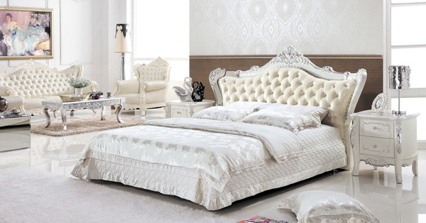 luxury Euro King Leather bed+ 2 wooden bedside tables