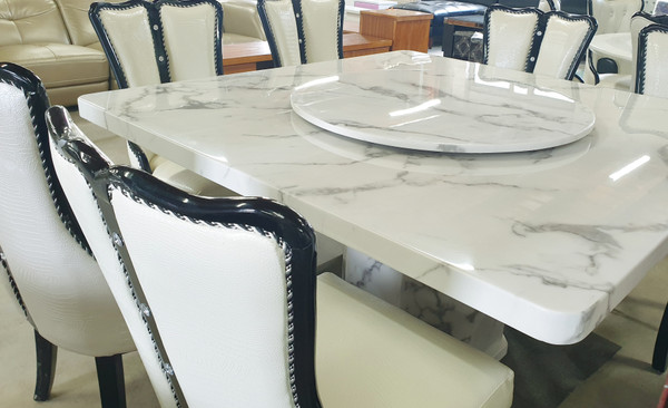 Square 1.4X1.4metre light GREY marble Dining table + 8 chairs