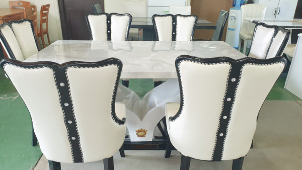 V base 1.6M light GREY Marble Dining table +6 chairs