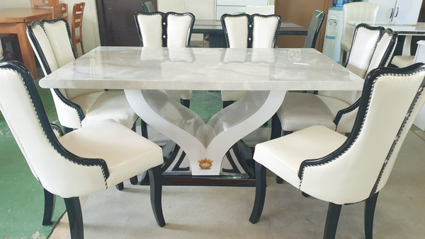 V base grey marble dining table