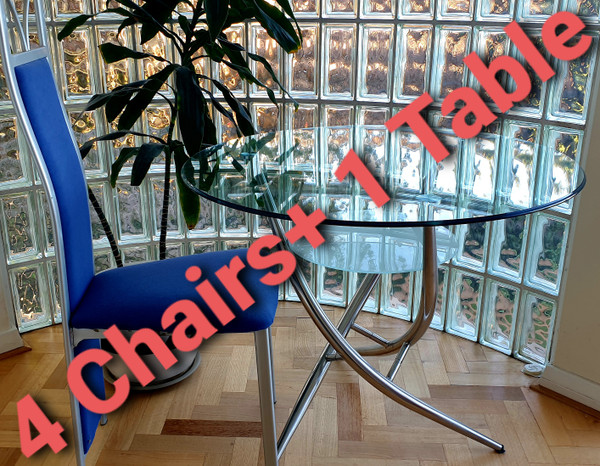 LAST floor display set Round Glass Dining table +4 blue chairs