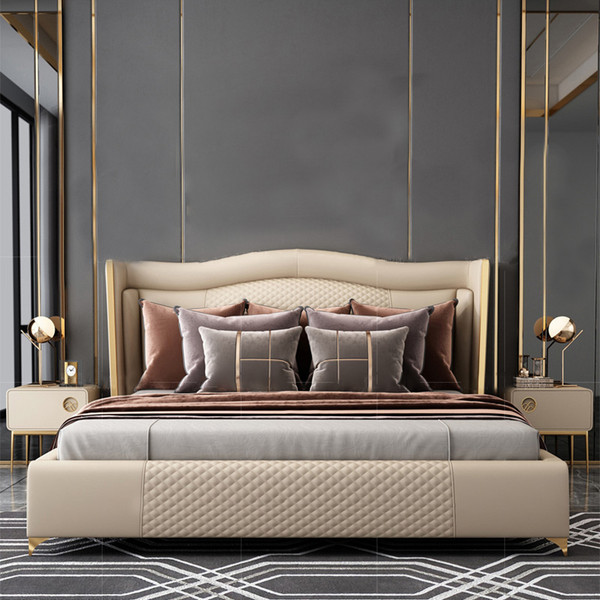 Modern Cream leather queen leather bed