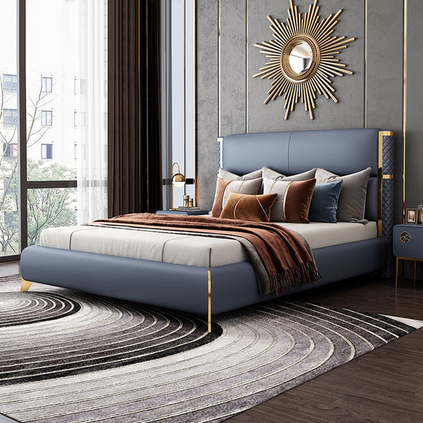 Luxury modern queen size grey leather bed