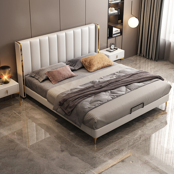 Super modern queen size leather bed
