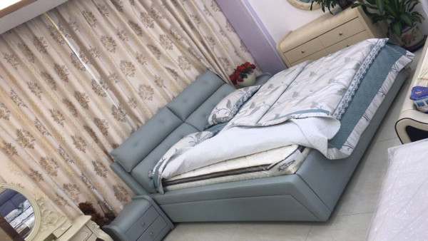 Grey E cheap queen size leather bed