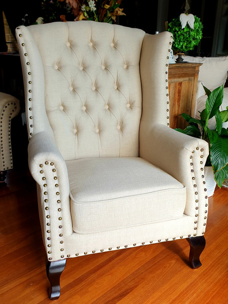 "Cream Linen Classic tub visitor chair ""Tiger"""