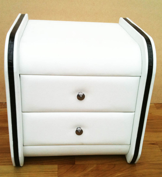 white PU leather bedside table withe black edge