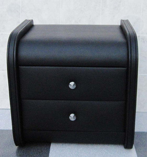 Leather look beside black table