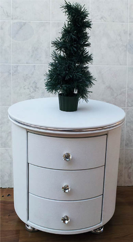 Round white 3 draws bedside table