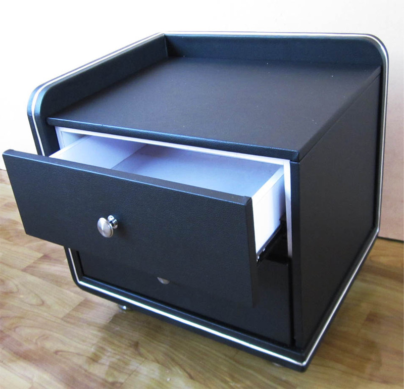 Black leather bedside table Zebra