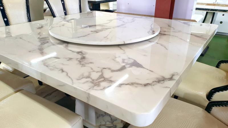 Square light grey marble dining table