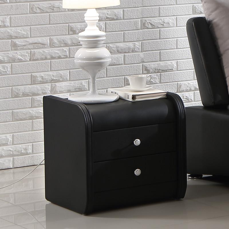 Bedside table black PU leather Violet