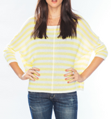Wooden Ships Striped Crew Neck Sweater - Bone / Meyer Lemon