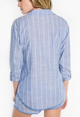 PJ Salvage Feelin' Blue Stripe Button Up Top