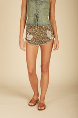 Vintage Havana Leopard Print Denim Shorts