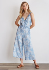 Bella Dahl Button Front Crop Leg Jumpsuit - Palm Print