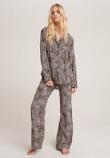 Bella Dahl Sleep Shirt + Wide Leg Pant Set - Golden Leopard