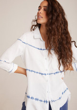 Bella Dahl Frayed Hem Pocket Button Down - Indigo White Out