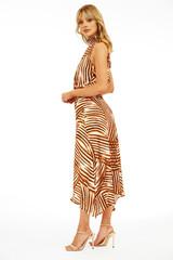 Hi- Neck Smocked Waist Midi Dress - Rebel