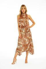 Veronica M Hi- Neck Smocked Waist Midi Dress - Rebel