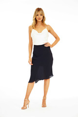 Veronica M Asymmetrical Chiffon Skirt - Jet Navy