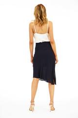 Veronica M Asymmetrical Chiffon Skirt - Jet Navy