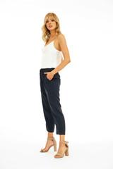 Linen Cropped Pant - Dark Navy
