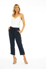 Veronica M Linen Cropped Pant - Dark Navy