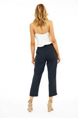 Veronica M Linen Cropped Pant - Dark Navy