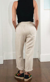 Veronica M Linen Cropped Pant - Natural