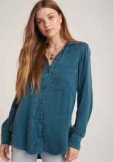 Bella Dahl Pocket Tunic Shirt - Luxe Cupro  Atlantic Deep