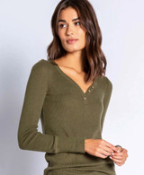 PJ Salvage Textured Basic Long Sleeve Top - Olive Green