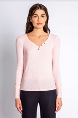 PJ Salvage Textured Basic Long Sleeve Top - Blush