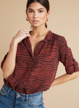 Capri Button Down - Crimson Red