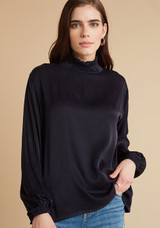 Draped Turtle Neck Top - Black