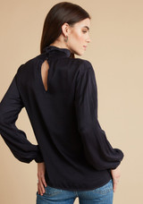 Draped Turtle Neck Top - Eggplant