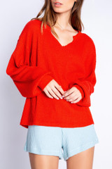 PJ Salvage Morning Waffles Long Sleeve Top - Red