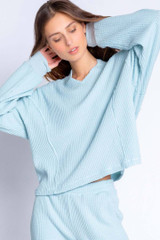 Morning Waffles Long Sleeve Top - Light Blue