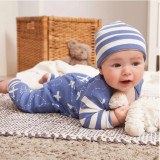 Baby Boy Blue Airplane Romper with Cap