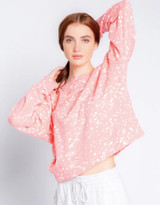 Flick Of A Brush Long Sleeve Top- Coral