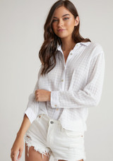 Relaxed Button Down Shirt - White Checked