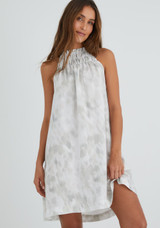 Smocked Ruffle Dress - Wind Brushed Floral Print