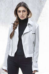 Josey Perforated Washed Leather Jacket - White