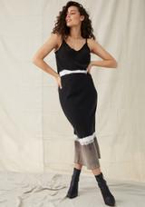 Bias Midi Skirt - Black Concrete Stripe Dye
